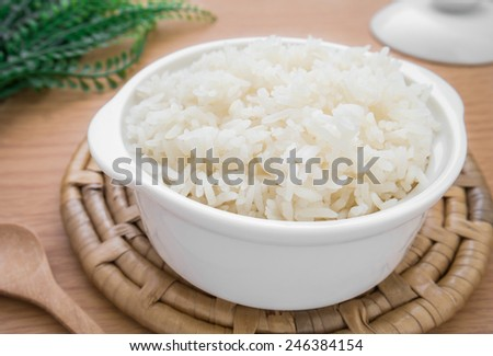 White steamed rice in bowl   - stock photo