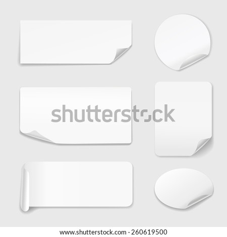 White Stickers - Set of white paper stickers isolated on white background.  Round, rectangular.  illustration - stock photo