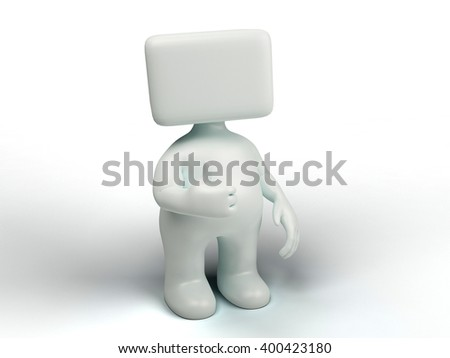 White Stickman 3d illustration isolated on the screen