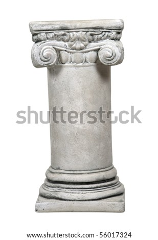 White stone formal column for architectural support of a building - path included - stock photo