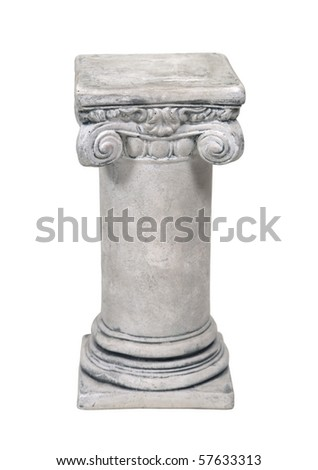 White stone formal pedestal for raising up an item of importance - path included - stock photo