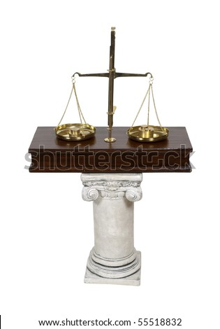 White stone formal pedestal for raising up an item of importance such as a scale for measuring worth - path included - stock photo