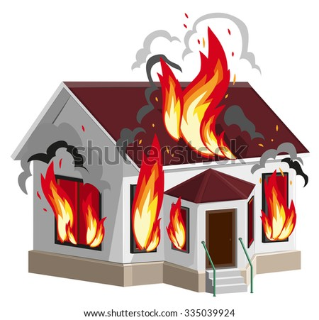 White stone house burns. Property insurance against fire. Home insurance