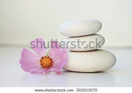 white stones and pink flower, empty white space, soft focus,beautiful relaxing spa setting bathroom decoration, balance tranquil - stock photo