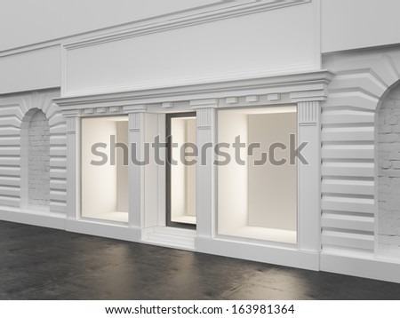 White store with empty showcase - stock photo