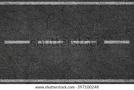 White Stripes On Asphalt Road texture background - stock photo