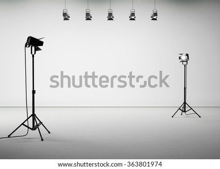 White studio room with equipment, no body. 3d render - stock photo