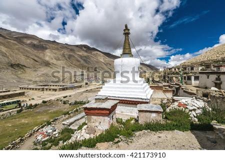 White stupa at Rongbuk Monastery near mount Everest in Tibet, China - stock photo