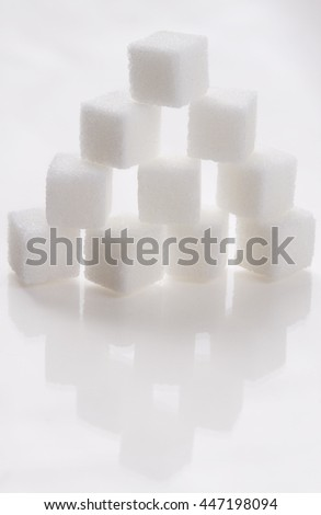 White sugar cube stack like a pyramid