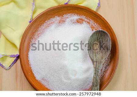 white sugar in a bowl - stock photo