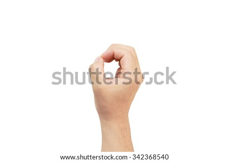 White Sugar palm circle zero letter o. Arm hand point essence fists hands hold carry shape form proportion number time opportunity security indication background permanent sale rate man text - stock photo