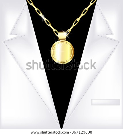 white suit and golden chain - stock photo