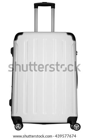 white suitcase isolated on white background - stock photo