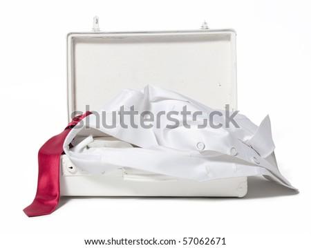 white suitcase on white - stock photo