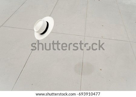 White Summer Fashion Panama Hat in the air