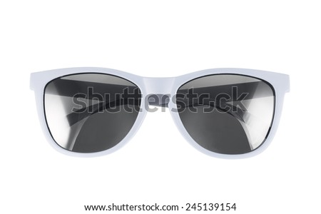 White sun glasses isolated over the white background - stock photo