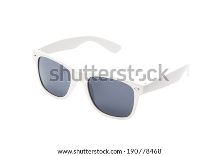 white sunglasses isolated on white background - stock photo