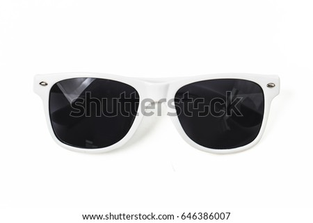 White sunglasses on white background