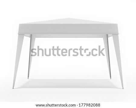White Suny Canopy Isolated on White Background - stock photo