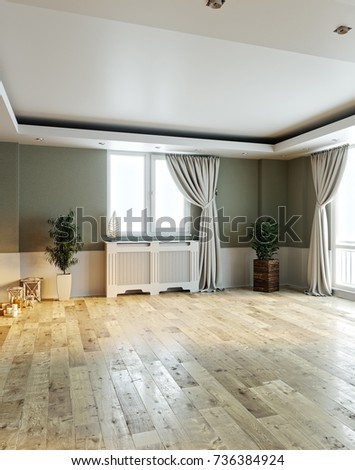 white suspended ceiling. spacious empty room interior design and wooden  parquet. 3D rendering