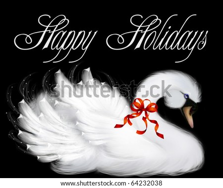 White swan with a red bow isolated on black background. - stock photo