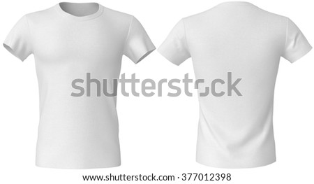 white T-shirt front and back - stock photo