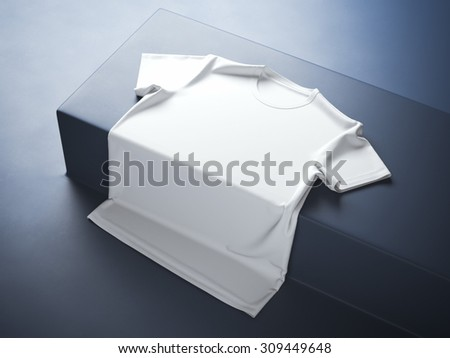 White t-shirt in the modern studio - stock photo