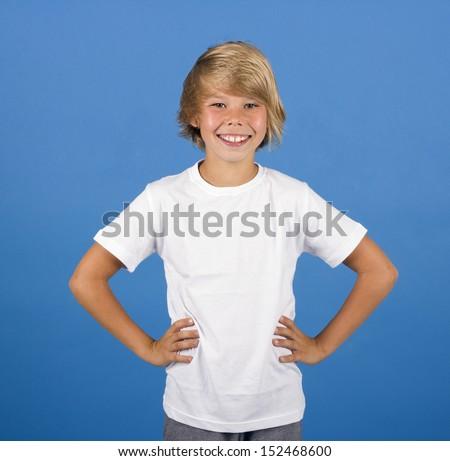 White T-shirt on a cute boy - stock photo