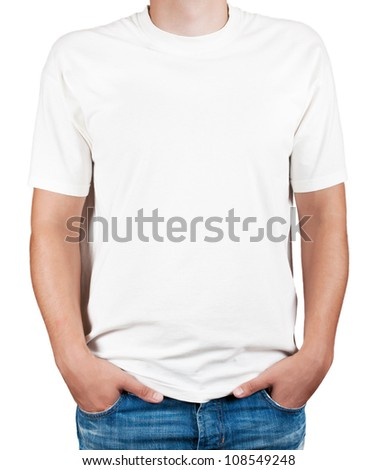 white t-shirt on a young man - stock photo