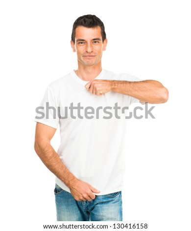 white t-shirt on a young man isolated - stock photo
