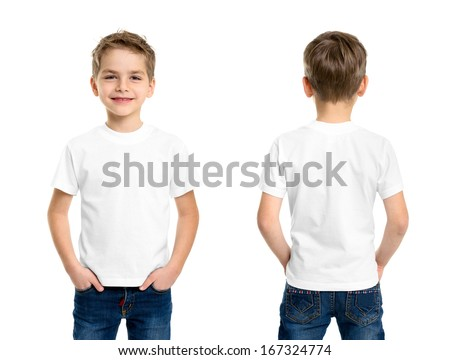 White t-shirt on a young man isolated, front and back - stock photo