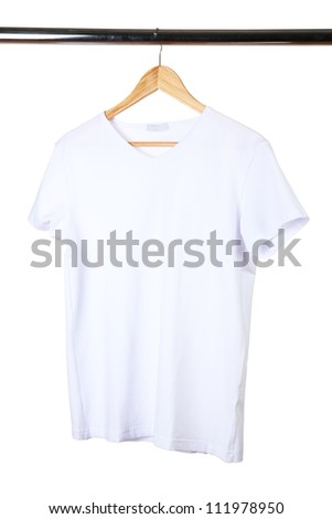 white t-shirt on hanger on white background - stock photo