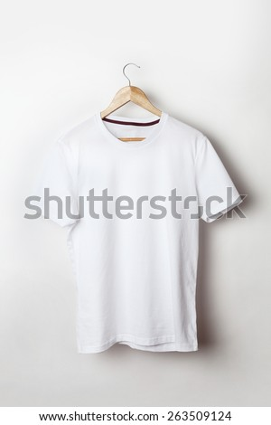White t-shirt template ready for your graphic design. - stock photo