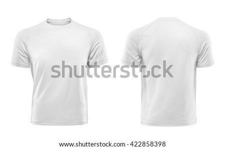 White T-shirts front and back used as design template. - stock photo