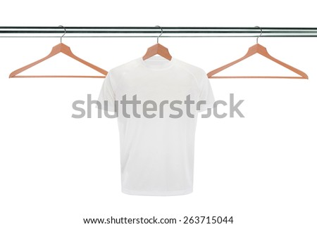 white t-shirts on hangers isolated on white background - stock photo