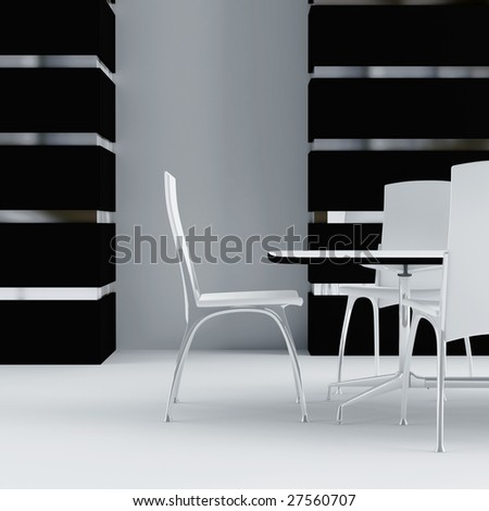 white table and chairs in the interior of modern room