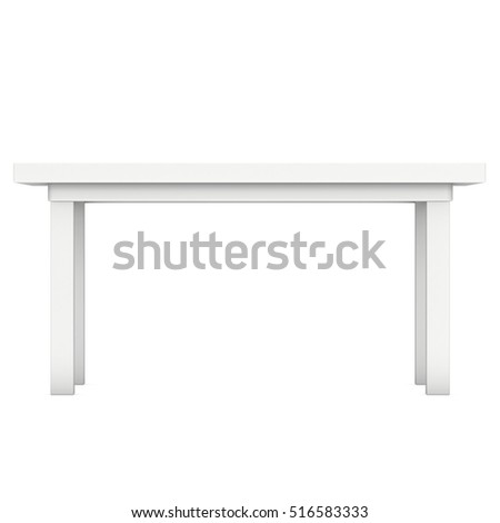 White Table. 3D Render Isolated On White. Platform Or Stand Illustration.  Template For