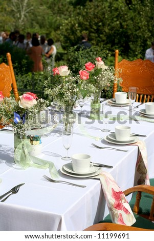 White table setting for wedding party