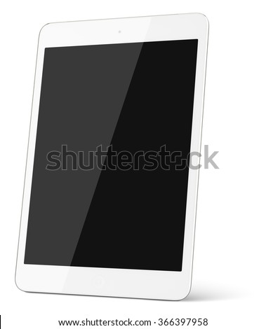White tablet computer isolated on white background. contains clipping paths - stock photo