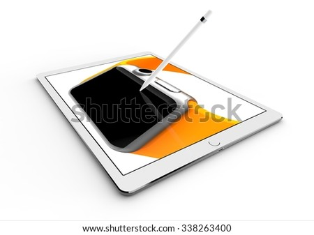 White tablet computer isolated on white background. Whole render in focus. - stock photo