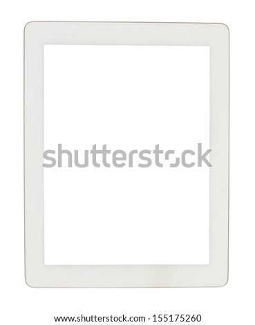 white tablet computer on an isolated background - stock photo