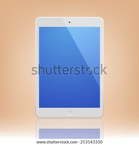 White Tablet Computer with blue screen and reflection.  Illustration Similar To iPad.
