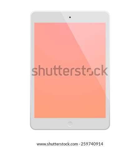 White Tablet Computer with peach display and reflection. Illustration Similar To iPad. - stock photo