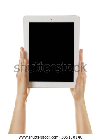 White tablet in hands isolated on white background - stock photo