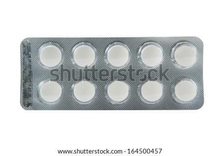 White tablet in pack show medicine concept