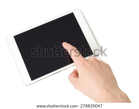 White tablet pc in hand, closeup, isolated
