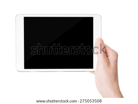 White tablet pc in his hand, closeup, isolated - stock photo