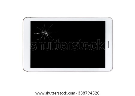 white tablet pc with broken screen glass - isolated - stock photo