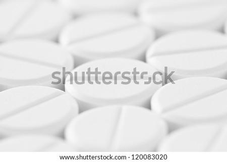 White tablet pills - stock photo