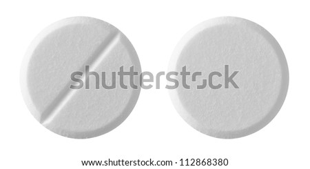 White tablet pills , isolated on white - stock photo